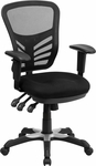 Mid-Back Black Mesh Multifunction Executive Swivel Chair with Adjustable Arms [HL-0001-GG]