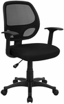 Mid-Back Black Mesh Swivel Task Chair with Arms [LF-W-118A-BK-GG]