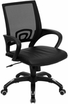 Mid-Back Black Mesh Swivel Task Chair with Black Leather Seat and Arms [CP-B176A01-BLACK-GG]