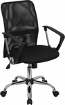 Mid-Back Black Mesh Swivel Task Chair with Chrome Base and Arms [GO-6057-GG]