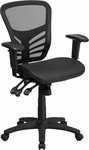 Mid-Back Transparent Black Mesh Multifunction Executive Swivel Chair with Adjustable Arms [HL-0001T-GG]