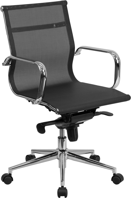 Mid Back Transparent Black Mesh Executive Swivel Chair with