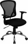 Mid-Back Black Mesh Swivel Task Chair with Chrome Base and Arms [H-8369F-BLK-GG]