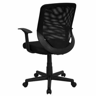 mid-back black mesh swivel task chair with arms, lf-w-95a-bk-gg
