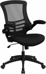 Mid-Back Black Mesh Swivel Task Chair with Flip-Up Arms [BL-X-5M-BK-GG]