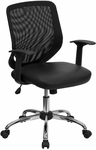 Mid-Back Black Mesh Swivel Task Chair with Leather Seat and Arms [LF-W95-LEA-BK-GG]