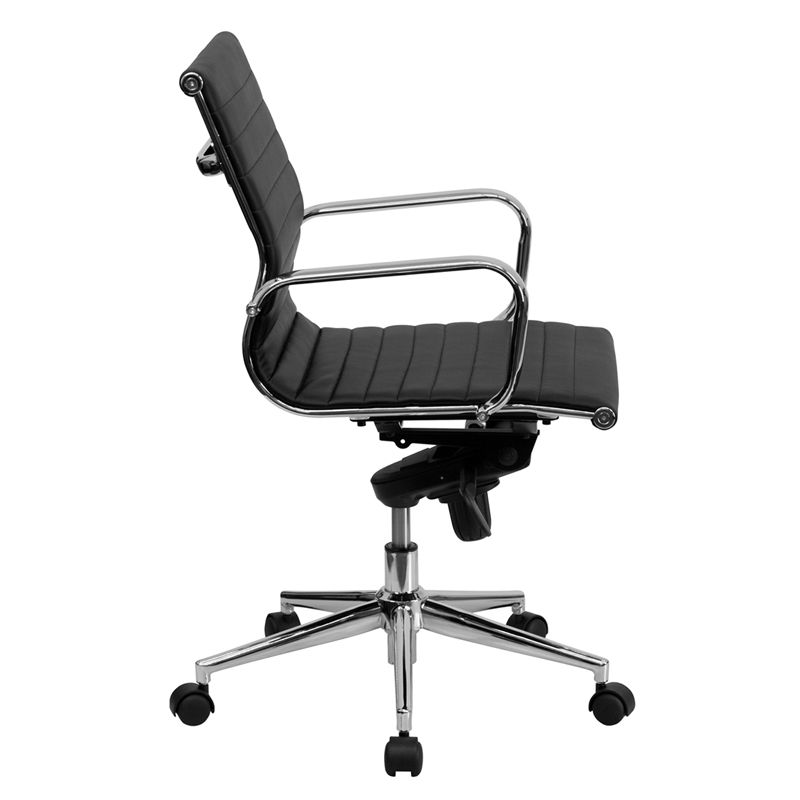 Mid Back Black Ribbed Leather Swivel Conference Chair With Knee Tilt Control And Arms Bt 9826m Bk Gg By Flash Furniture Bizchair Com