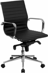 Mid-Back Black Ribbed Leather Swivel Conference Chair with Knee-Tilt Control and Arms [BT-9826M-BK-GG]