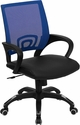 Mid-Back Blue Mesh Swivel Task Chair with Black Leather Seat and Arms