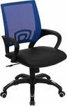 Mid-Back Blue Mesh Swivel Task Chair with Black Leather Seat and Arms [CP-B176A01-BLUE-GG]