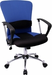 Mid-Back Blue Mesh Swivel Task Chair with Arms [LF-W23-BLUE-GG]