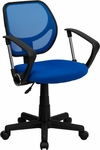 Blue Mesh Swivel Task Chair with Arms [WA-3074-BL-A-GG]