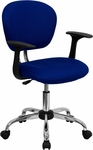 Mid-Back Blue Mesh Swivel Task Chair with Chrome Base and Arms [H-2376-F-BLUE-ARMS-GG]