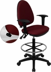 Mid-Back Burgundy Fabric Multifunction Drafting Chair with Adjustable Lumbar Support and Adjustable Arms [WL-A654MG-BY-AD-GG]