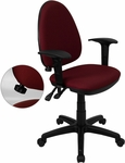 Mid-Back Burgundy Fabric Multifunction Swivel Task Chair with Adjustable Lumbar Support and Adjustable Arms [WL-A654MG-BY-A-GG]
