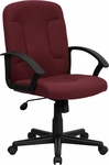 Mid-Back Burgundy Fabric Executive Swivel Chair with Nylon Arms [GO-ST-6-BY-GG]