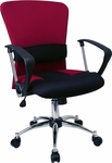 Mid-Back Burgundy Mesh Swivel Task Chair with Arms [LF-W23-RED-GG]