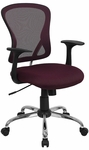Mid-Back Burgundy Mesh Swivel Task Chair with Chrome Base and Arms [H-8369F-ALL-BY-GG]