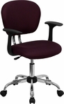 Mid-Back Burgundy Mesh Swivel Task Chair with Chrome Base and Arms [H-2376-F-BY-ARMS-GG]