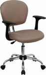 Mid-Back Coffee Brown Mesh Swivel Task Chair with Chrome Base and Arms [H-2376-F-COF-ARMS-GG]
