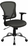 Mid-Back Dark Gray Mesh Swivel Task Chair with Chrome Base and Arms [H-8369F-DK-GY-GG]