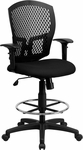 Mid-Back Designer Back Drafting Chair with Fabric Seat and Adjustable Arms [WL-3958SYG-BK-AD-GG]