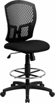 Mid-Back Designer Back Drafting Chair with Fabric Seat [WL-3958SYG-BK-D-GG]