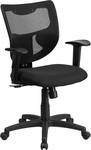 Galaxy Mid-Back Designer Black Mesh Back Swivel Task Chair with Adjustable Arms [WL-F061SYG-MF-A-GG]