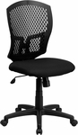 Mid-Back Designer Back Swivel Task Chair with Fabric Seat [WL-3958SYG-BK-GG]