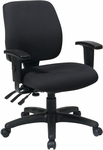 Work Smart Mid Back Dual Function Ergonomic Chair with Back Height Adjustment and Arms - Black [33327-30-FS-OS]