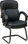 Work Smart Bonded Leather Visitors Chair with Padded Arms and Sled Base - Black [EC9235-EC3-FS-OS]