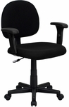 Low Back Black Fabric Swivel Task Chair with Adjustable Arms [BT-660-1-BK-GG]