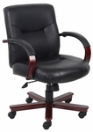 Mid Back Spring Tilt Executive Italian Leather Office Chair with Arms - Black [B8906-FS-BOSS]