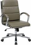 Work Smart Mid Back Executive Faux Leather Chair with Polished Chrome Finish - Smoke [FL5388C-U22-FS-OS]