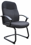 Mid Back Fabric Guest Chair with Arms - Black [B8309-FS-BOSS]