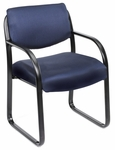 Mid Back Fabric Guest Side Chair with Armrests - Blue [B9521-BE-FS-BOSS]