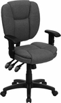 Mid-Back Gray Fabric Multifunction Ergonomic Swivel Task Chair with Adjustable Arms [GO-930F-GY-ARMS-GG]