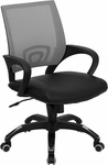 Mid-Back Gray Mesh Swivel Task Chair with Black Leather Seat and Arms [CP-B176A01-GRAY-GG]