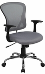Mid-Back Gray Mesh Swivel Task Chair with Chrome Base and Arms [H-8369F-GY-GG]