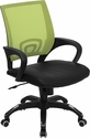 Mid-Back Green Mesh Swivel Task Chair with Black Leather Seat and Arms