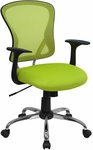 Mid-Back Green Mesh Swivel Task Chair with Chrome Base and Arms [H-8369F-GN-GG]