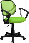 Green Mesh Swivel Task Chair with Arms [WA-3074-GN-A-GG]