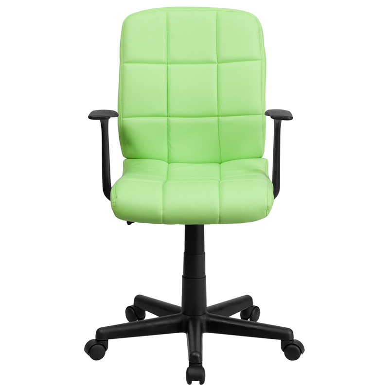 Mid-Back Green Quilted Vinyl Swivel Task Chair with Arms, GO-1691-1 ...