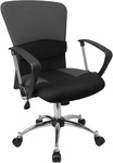 Mid-Back Grey Mesh Swivel Task Chair with Arms [LF-W23-GREY-GG]