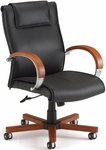 Apex Leather Executive Mid-Back Chair with Cherry Finish - Black [561-L-CHERRY-FS-MFO]