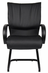 Mid Back LeatherPLUS Guest Chair with Padded Chrome Armrests - Black [B9709-FS-BOSS]