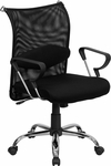 Mid-Back Black Mesh Swivel Manager's Chair with Adjustable Lumbar Support and Arms [BT-2905-GG]