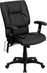 Mid-Back Massaging Black Leather Executive Swivel Chair with Adjustable Arms [BT-2770P-GG]