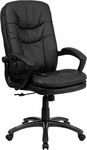 High Back Massaging Black Leather Executive Swivel Chair with Arms [BT-9585P-GG]
