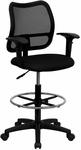 Mid-Back Black Mesh Drafting Chair with Adjustable Arms [WL-A277-BK-AD-GG]